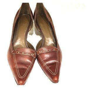 Anne Klein Brown MAOCEAN Leather Heels Size 10.5